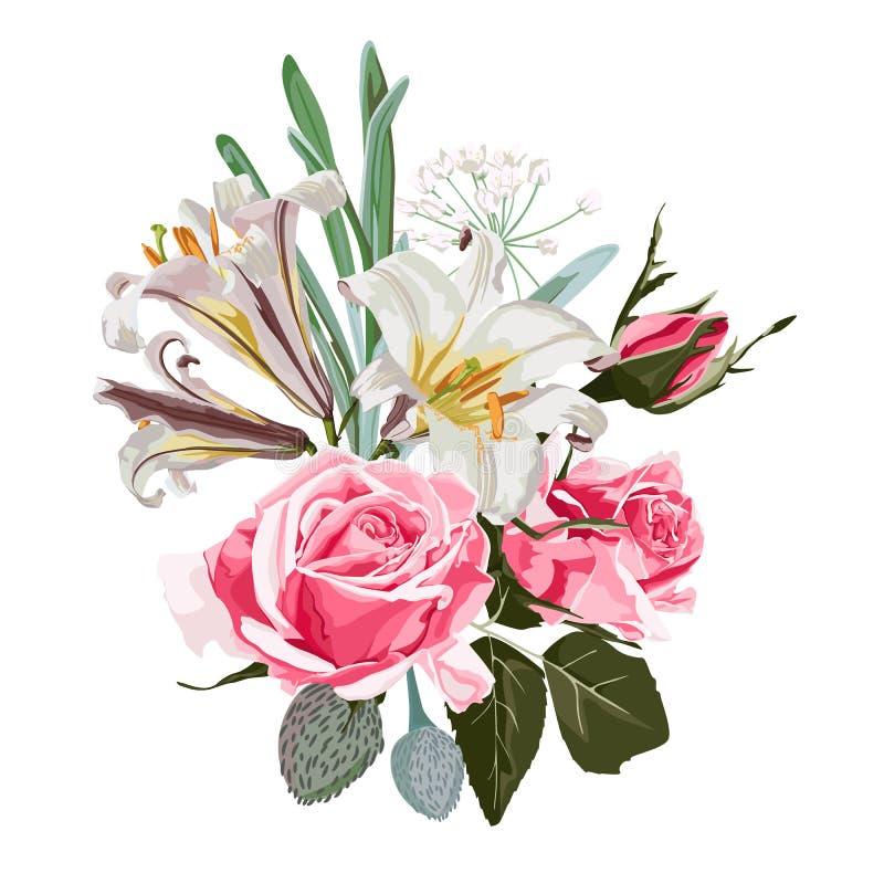 Diseño gráfico floral de la tarjeta o del cartel de la primavera con las rosas rosadas, los lirios blancos, el eucalipto y los su ilustración del vector