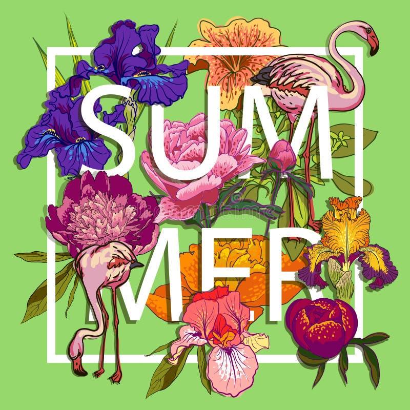 Diseño gráfico floral y de los pájaros de los flamencos del amor stock de ilustración
