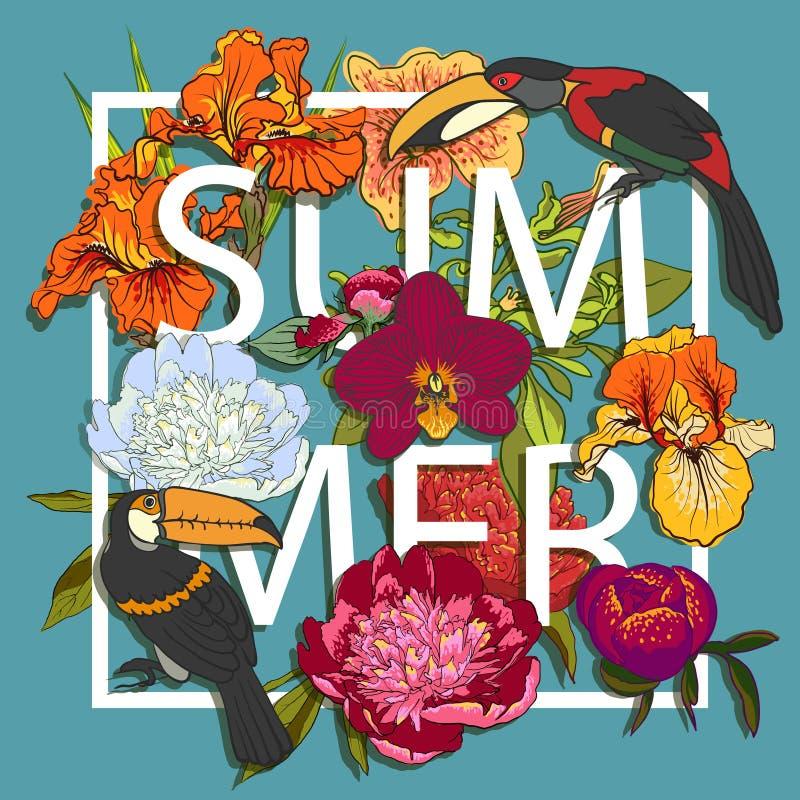 Diseño gráfico floral y de los pájaros de los tucanes del amor stock de ilustración