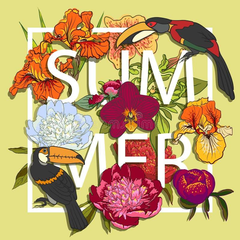 Diseño gráfico floral y de los pájaros de los tucanes del amor libre illustration
