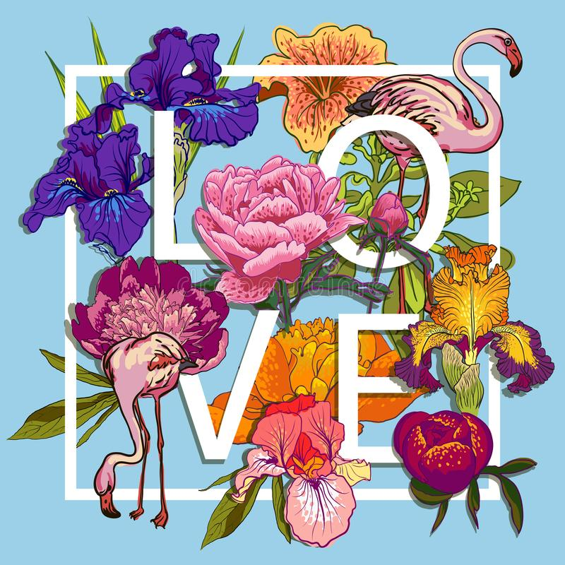Diseño gráfico floral y de los pájaros de los flamencos del amor ilustración del vector