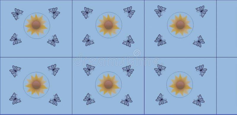 Diseño gráfico hermoso de la teja con la mariposa y la flor ilustración del vector