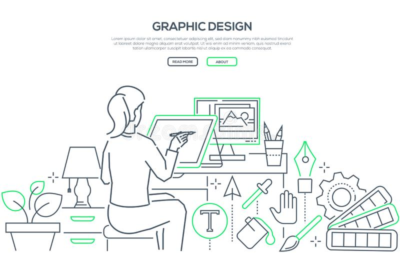 Diseño gráfico - línea moderna bandera de la web del estilo del diseño ilustración del vector