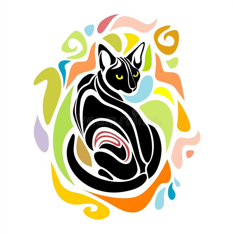 Diseño gráfico negro de Cat Vector Decorative ilustración del vector