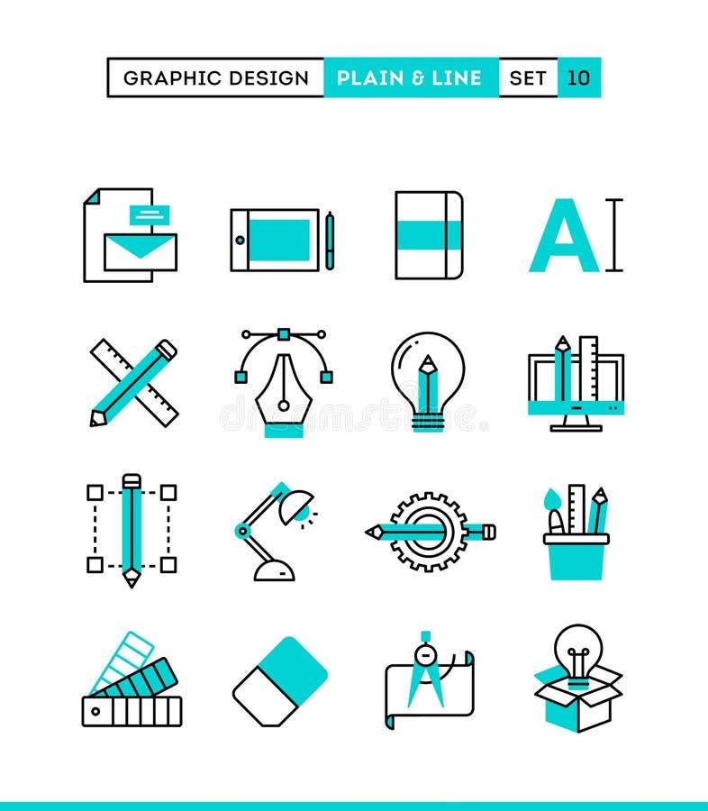 Diseño gráfico, paquete, inmóvil creativos, software y más stock de ilustración