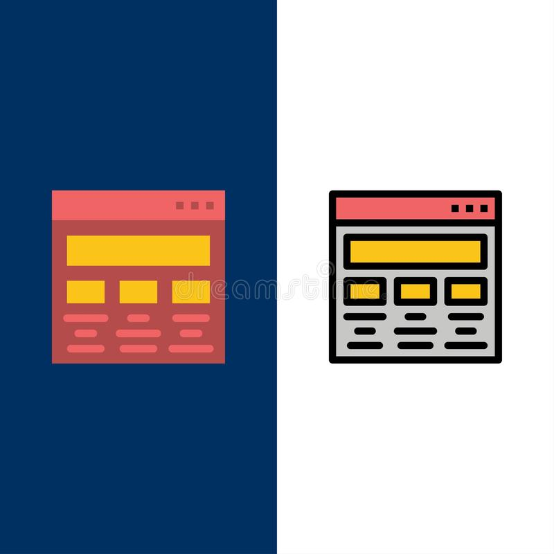 Diseño, gráfico, diseño gráfico, pintura, iconos de la web El plano y la línea icono llenado fijaron el fondo azul del vector libre illustration