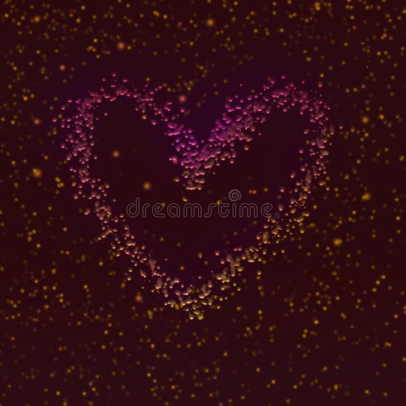Diseño grabado en relieve brillo del corazón Ilustraciones del tema del día de tarjeta del día de San Valentín stock de ilustración