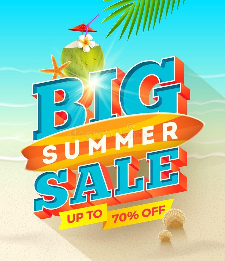 Diseño grande de la venta del verano ilustración del vector