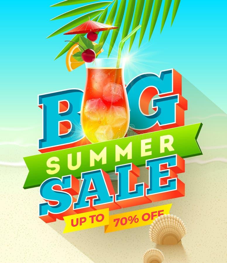 Diseño grande de la venta del verano stock de ilustración