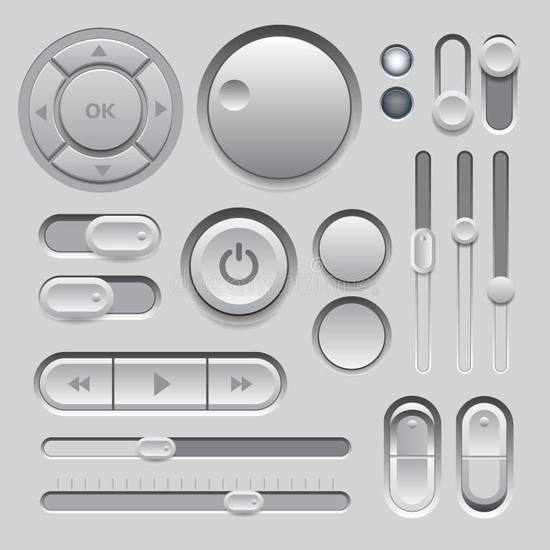 Diseño gris de los elementos del Web UI. stock de ilustración