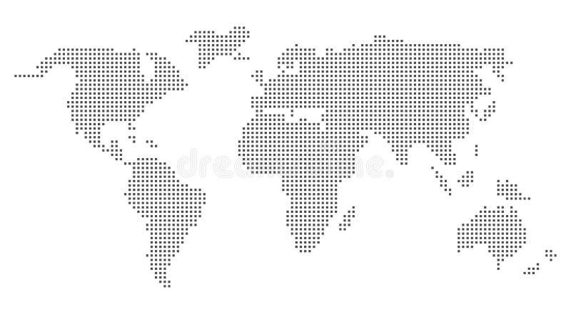 Diseño gris del pixel del mapa del mundo Mapa del mundo del vector en cuadrados ilustración del vector
