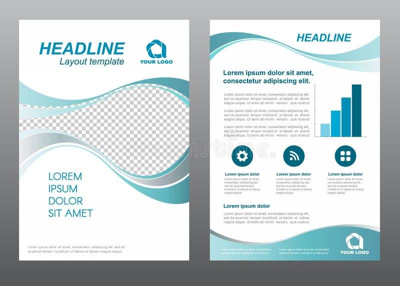 Diseño gris del vector del tono de la turquesa de la onda de la página de cubierta del tamaño A4 de la plantilla del aviador de l libre illustration