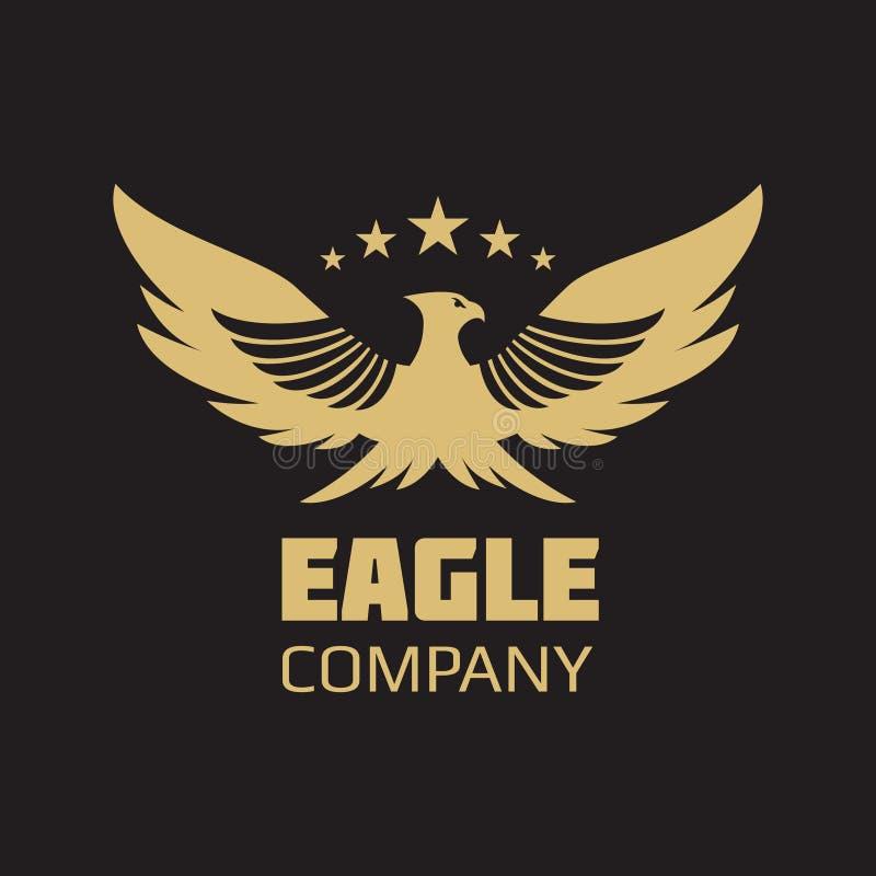 Diseño heráldico del logotipo del águila del oro ilustración del vector