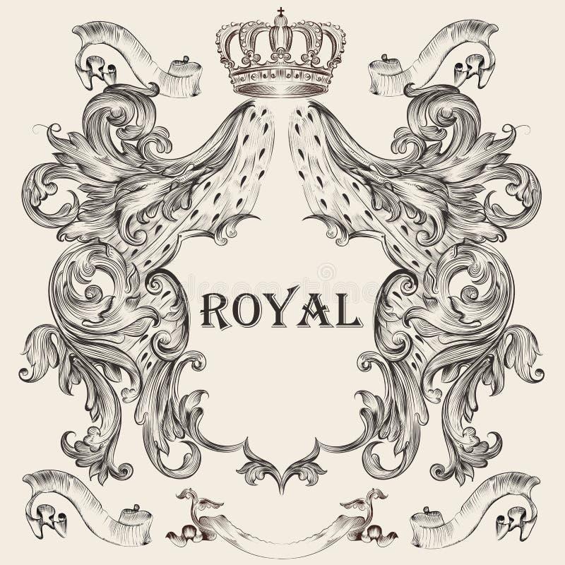 Diseño heráldico hermoso con el escudo stock de ilustración