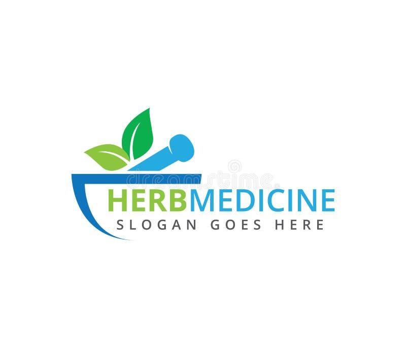 Diseño herbario del logotipo del vector de la clínica de la medicina del tratamiento médico de la farmacia stock de ilustración
