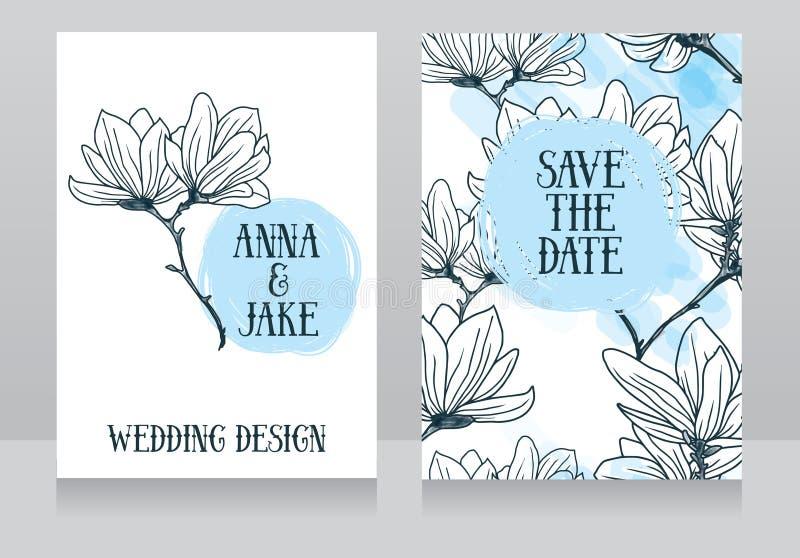 Diseño hermoso de la boda con las flores de la magnolia stock de ilustración