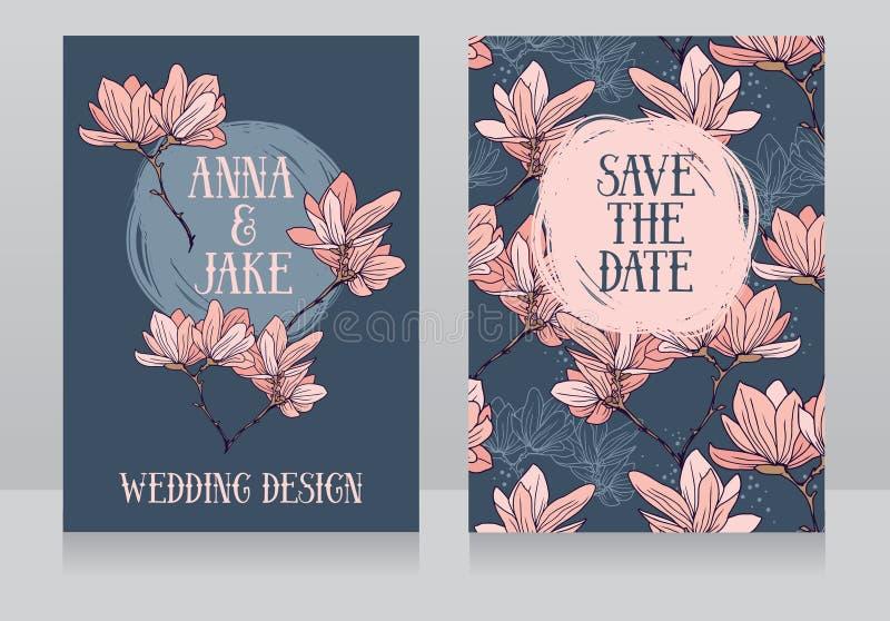 Diseño hermoso de la boda con las flores de la magnolia libre illustration