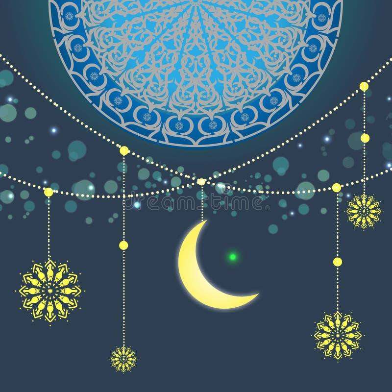 Diseño hermoso de la tarjeta de felicitación del kareem del Ramadán con arte de la mandala stock de ilustración