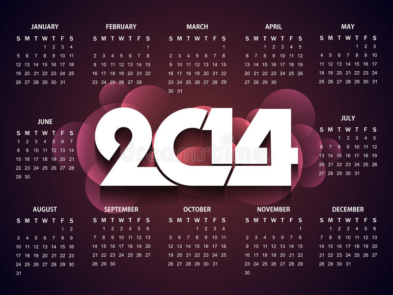 Diseño hermoso del calendario por el Año Nuevo 2014. ilustración del vector