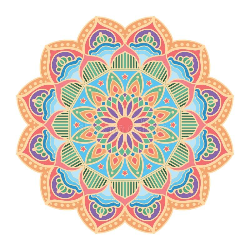 Diseño hermoso del modelo de la mandala con colores en colores pastel stock de ilustración