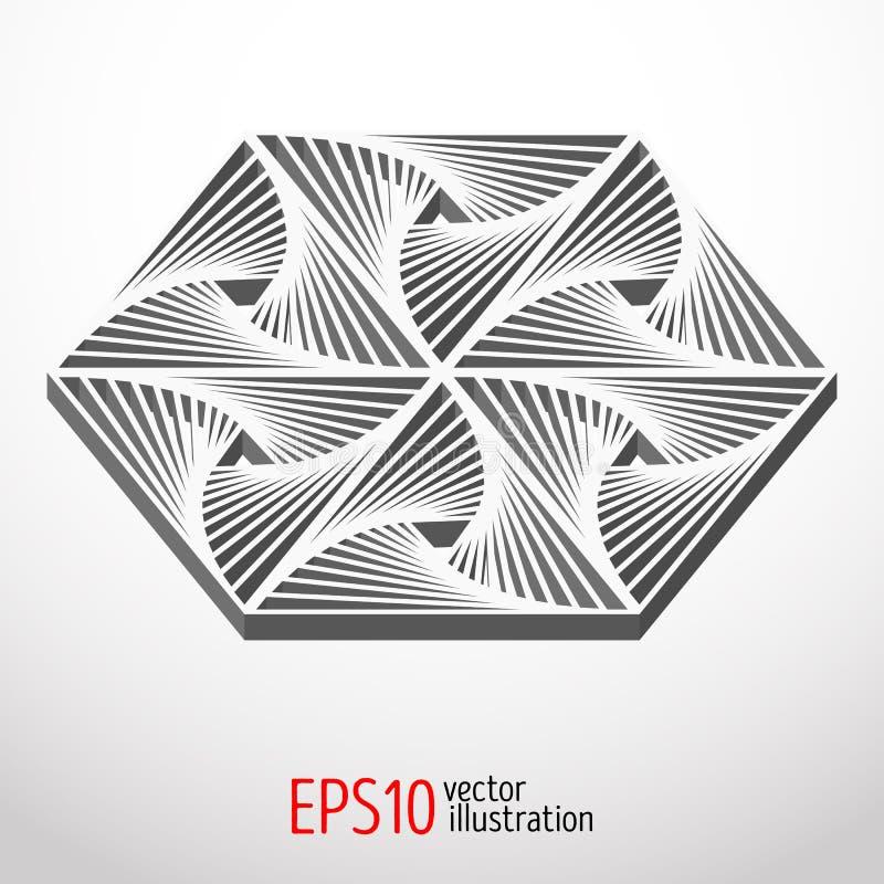 Diseño hexagonal 3d Forma sacra del misterio de la geometría ilustración del vector
