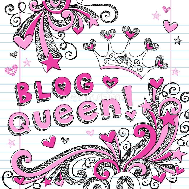 Diseño incompleto del icono del Web del Doodle de la reina del blog libre illustration