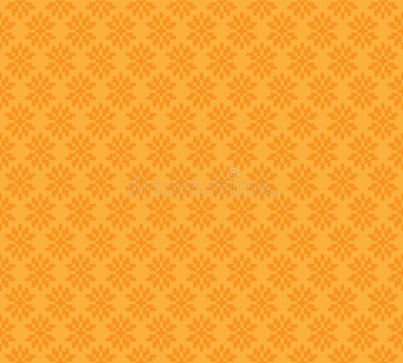 Diseño inconsútil amarillo-naranja del vector del fondo del modelo de la flor abstracta del bloque ilustración del vector