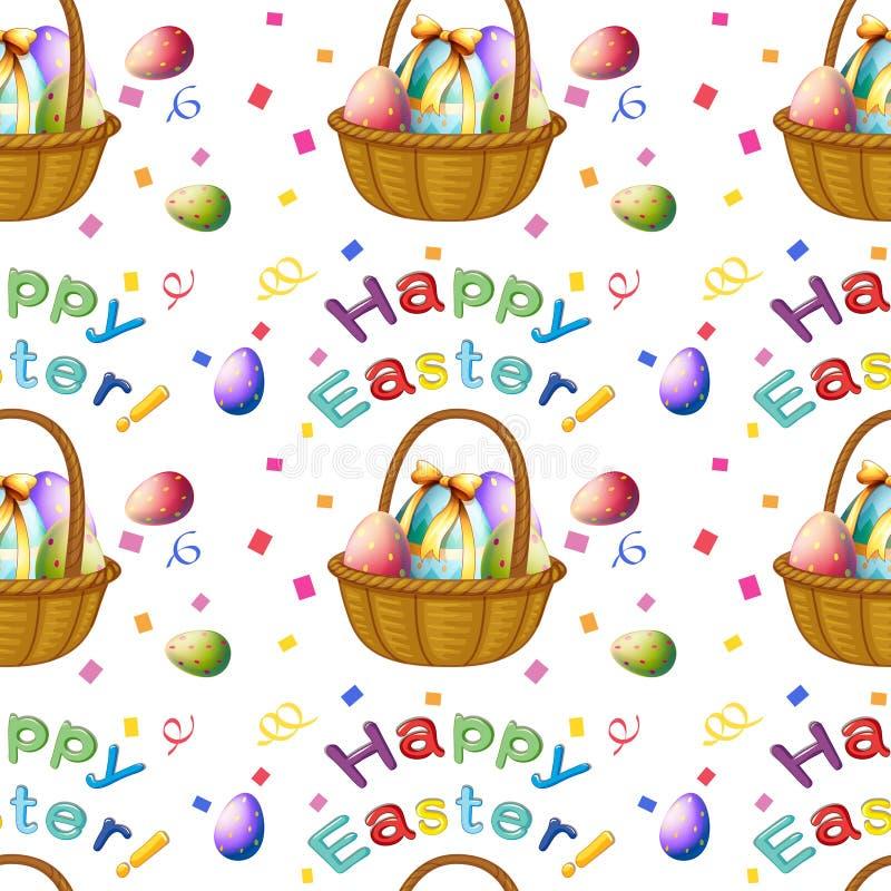 Diseño inconsútil con los huevos de Pascua en una cesta ilustración del vector