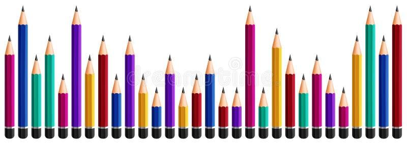 Diseño inconsútil con los lápices coloridos en el fondo blanco ilustración del vector