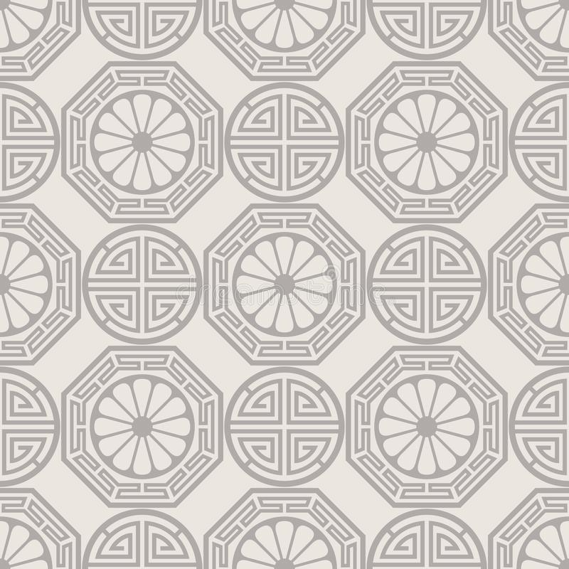 Diseño inconsútil coreano, japonés, chino tradicional del modelo ilustración del vector