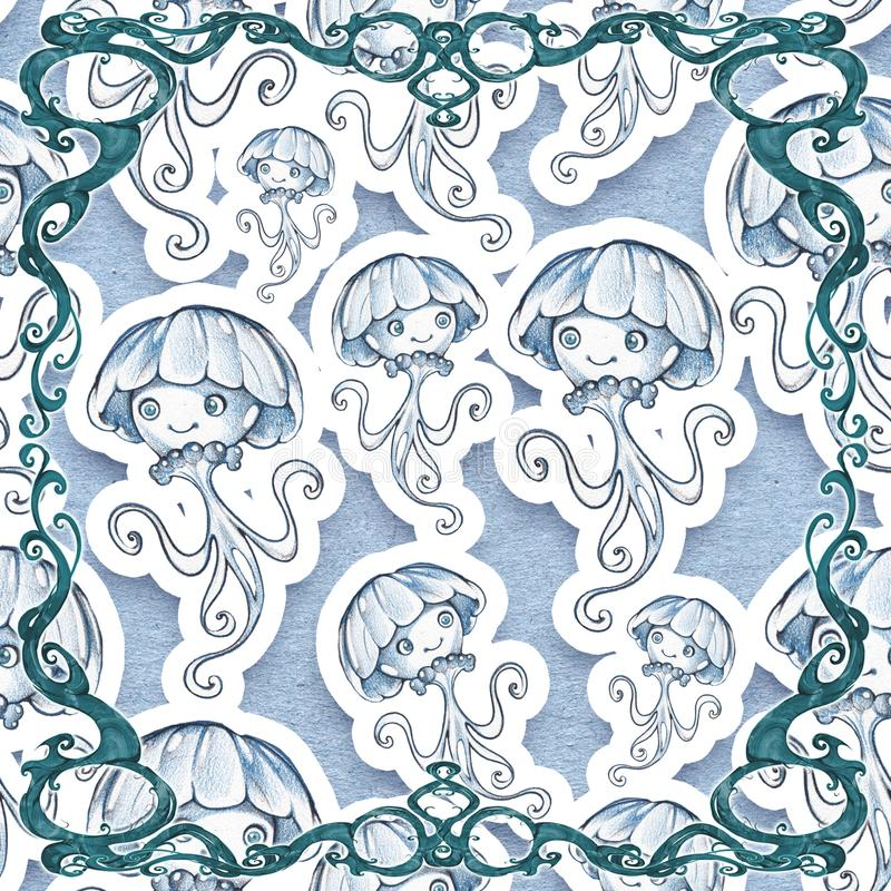 Diseño inconsútil de Digitaces de elementos hermosos, elegantes y encrespados del marco con el fondo de las criaturas del mar stock de ilustración