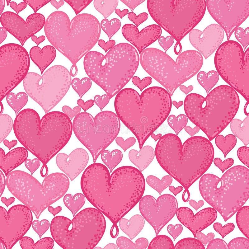 Diseño inconsútil del fondo del modelo de la repetición de los corazones del garabato del vector Grande para las tarjetas románti ilustración del vector