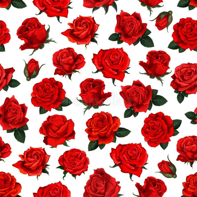 Diseño inconsútil del fondo del modelo de la flor de la rosa del rojo libre illustration