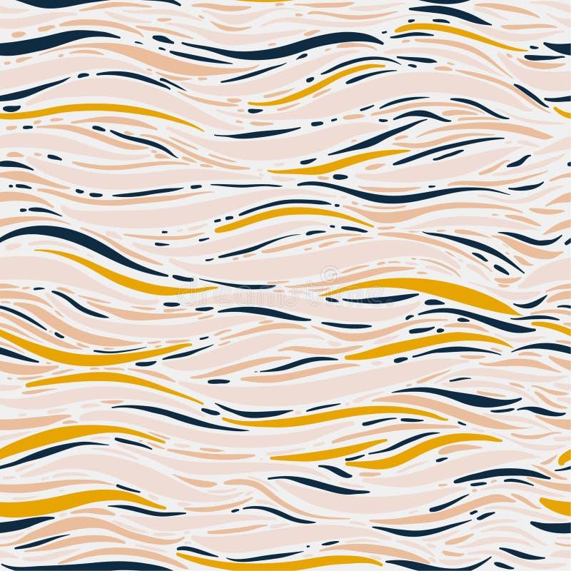 Diseño inconsútil del fondo del modelo del humor de la mano del cepillo de la ola oceánica marina dulce y en colores pastel del v libre illustration