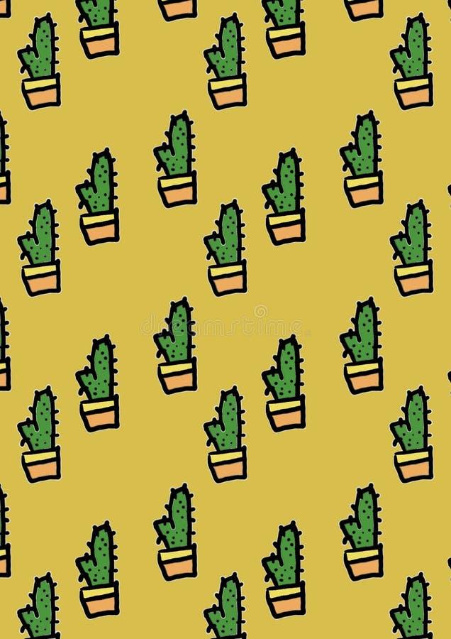 Diseño inconsútil del modelo del cactus hermoso lindo foto de archivo libre de regalías