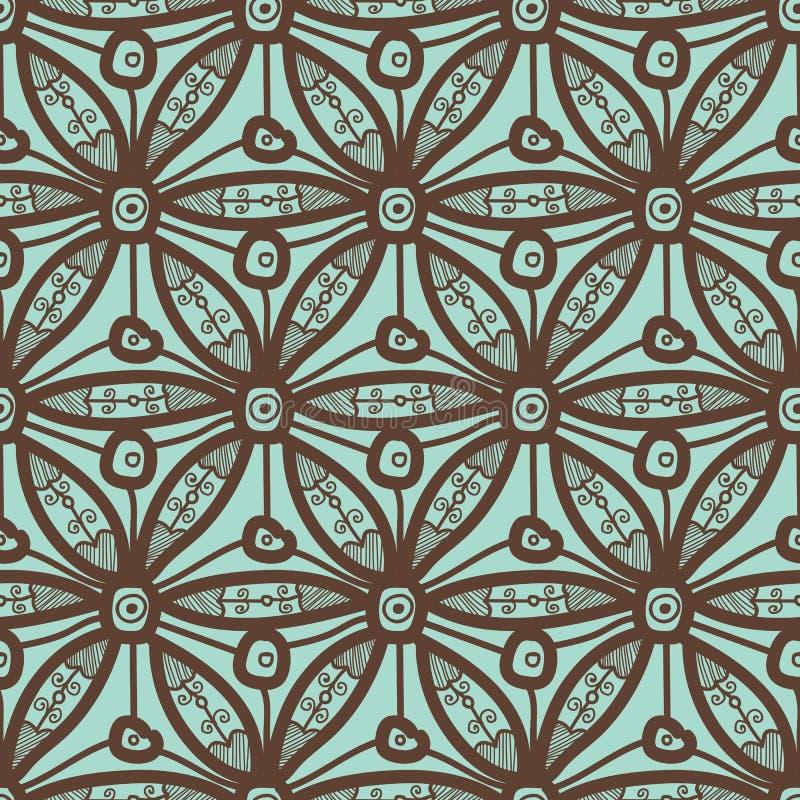 Diseño inconsútil del modelo con adorno hexagonal del cordón stock de ilustración
