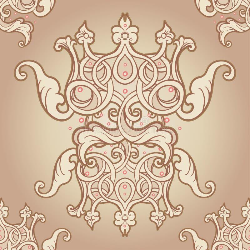 Diseño inconsútil del modelo con las coronas y los corazones en estilo medieval stock de ilustración