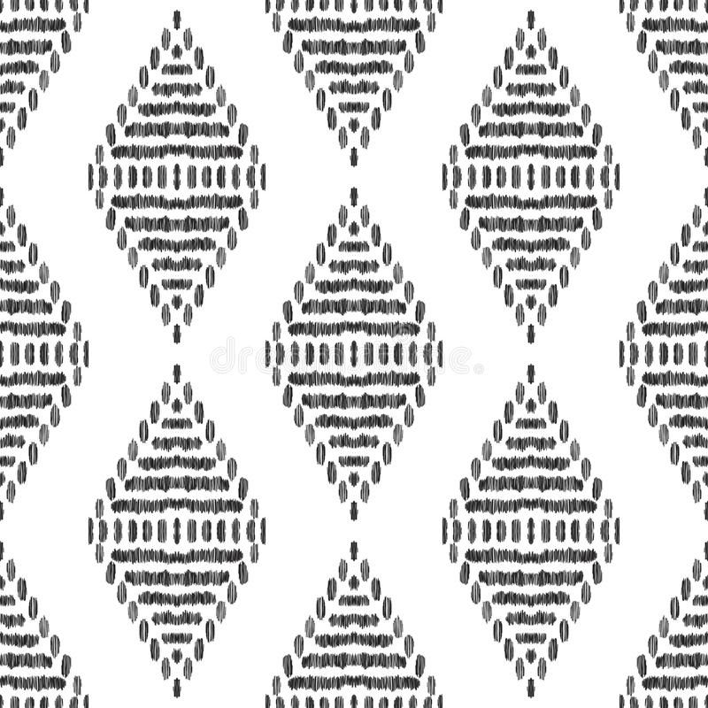 Diseño inconsútil del modelo de Ikat para la tela ilustración del vector