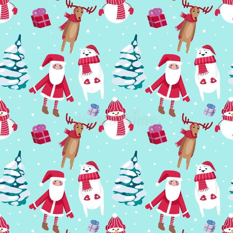 Diseño inconsútil del modelo de la Navidad con el muñeco de nieve, Papá Noel, ciervos y ilustración del vector