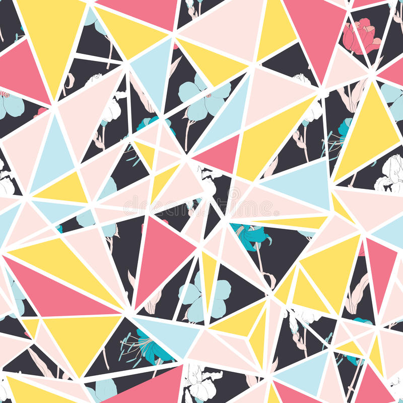 Diseño inconsútil del modelo de la repetición de los triángulos florales abstractos del vector Grande para la tela moderna, papel stock de ilustración