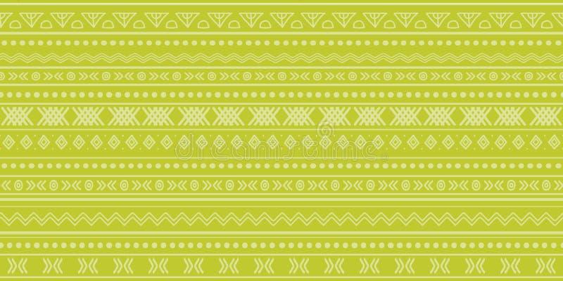Diseño inconsútil del modelo de la repetición del ikat tribal verde ilustración del vector