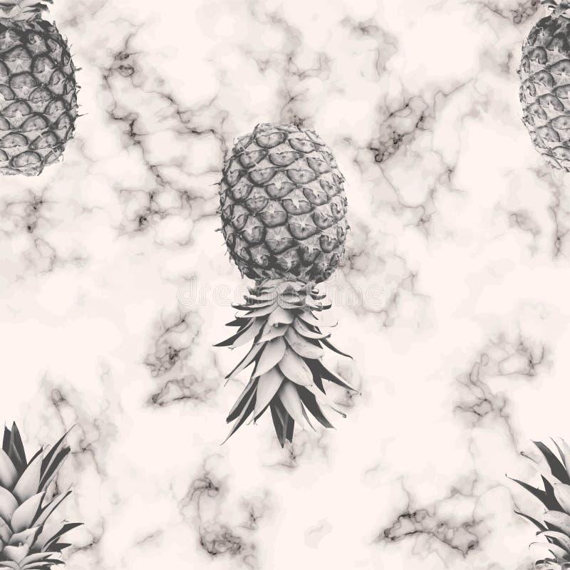 Diseño inconsútil del modelo de la textura del mármol del vector con la piña, superficie que vetea blanco y negro, fondo lujoso m stock de ilustración