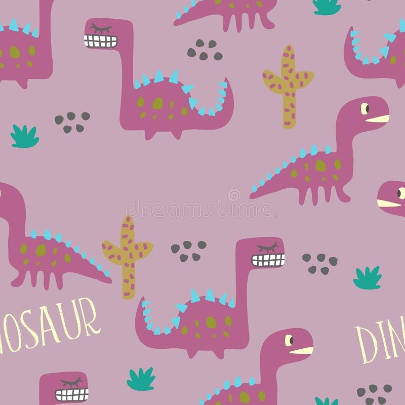 Diseño inconsútil del modelo del dinosaurio stock de ilustración