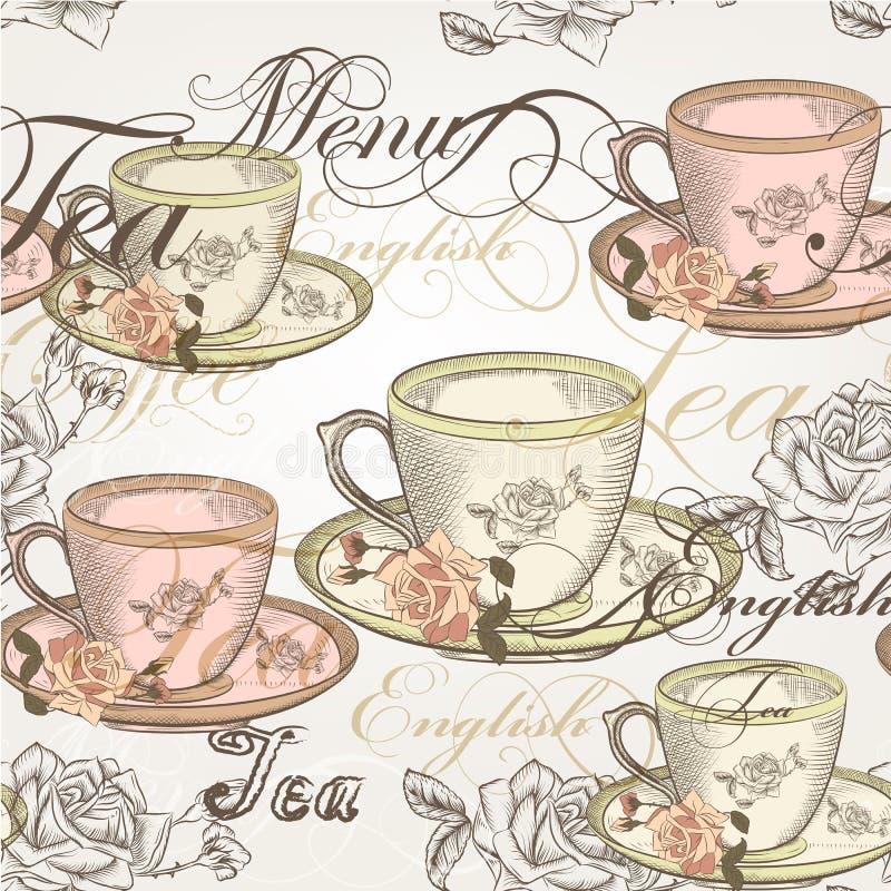 14)Diseño inconsútil del papel pintado del vector en estilo del vintage stock de ilustración