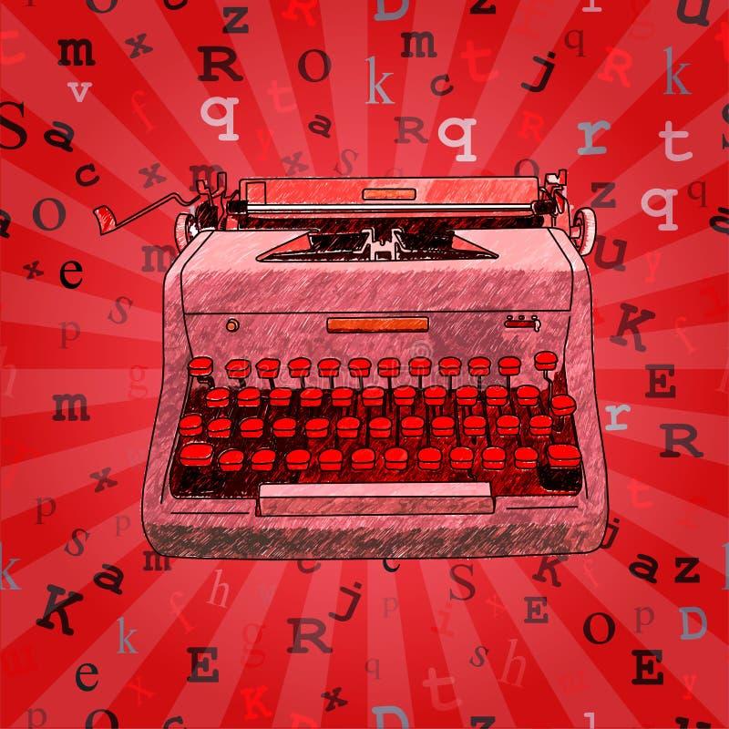 Diseño inconsútil dibujado mano roja de la máquina de escribir ilustración del vector