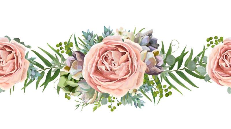 Diseño inconsútil floral del ramo del modelo del vector: melocotón del rosa de jardín ilustración del vector