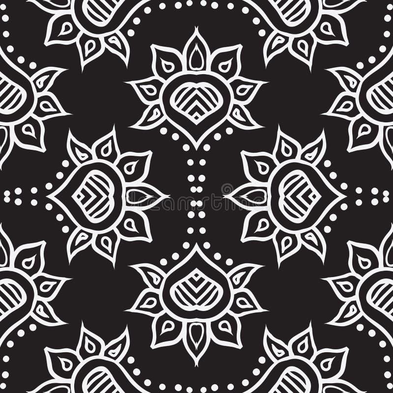 Diseño inconsútil marroquí drenado mano del vector de la tela stock de ilustración