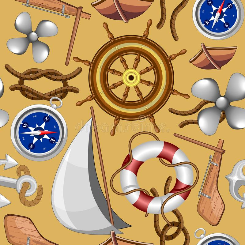 Diseño inconsútil náutico de la materia textil del modelo del vector de los objetos del infante de marina y de la marina de guerr libre illustration