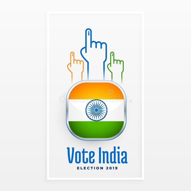 Diseño indio de la etiqueta de la elección del voto ilustración del vector