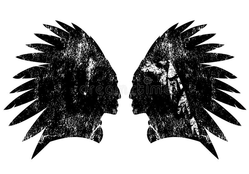 Diseño indio del vector del perfil del guerrero del nativo americano stock de ilustración